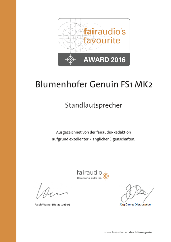 Award for the Genuin FS 1 MK 2