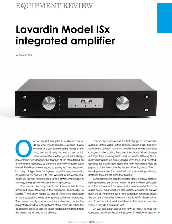 Article Lavardin ISx on HiFi+ 144